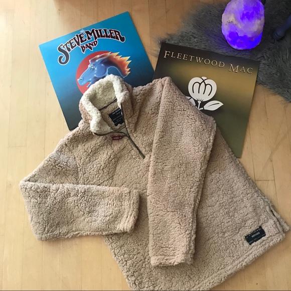 Vintage Jackets & Blazers - •vintage•   oatmeal teddy half-zip pullover